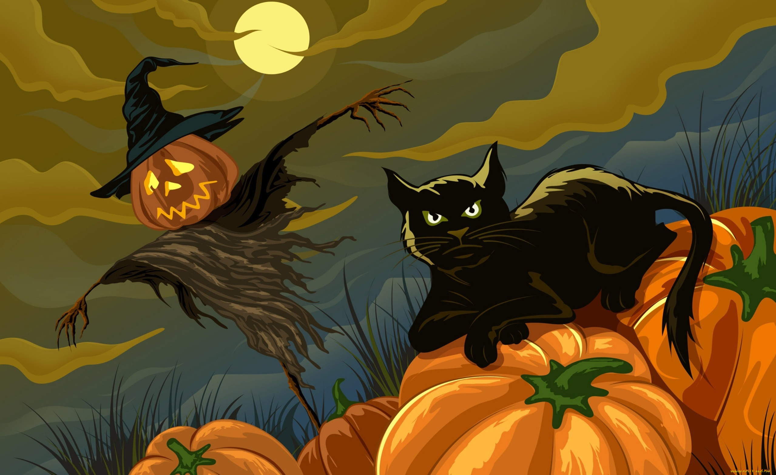 картинки хэллоуина с кошками цепи базы